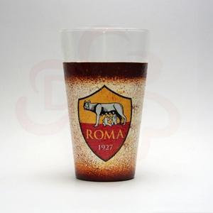 AS Roma vizes pohár ; As Roma foci szurkolóknak, Otthon & Lakás, Konyhafelszerelés, Pohár, Decoupage, transzfer és szalvétatechnika, Meska