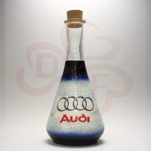 Audi bor kiöntő ; Audi rajongóknak, Otthon & Lakás, Konyhafelszerelés, Pohár, Decoupage, transzfer és szalvétatechnika, Audi bor kiöntő, dekantáló\n\nIgazi egyedi Audi autós ajándék, férfiaknak, nőknek, barátoknak. bor sze..., Meska