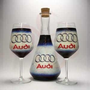 Audi boros készlet ; Audi rajongóknak, Otthon & Lakás, Konyhafelszerelés, Pohár, Decoupage, transzfer és szalvétatechnika, Audi bor kiöntő, dekantáló - 2db boros pohárral\n\nIgazi egyedi Audi autós ajándék, férfiaknak, nőknek..., Meska