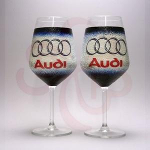 Audi borospohár ; Audi rajongóknak, Otthon & Lakás, Konyhafelszerelés, Pohár, Decoupage, transzfer és szalvétatechnika, Audi emblémával díszített - 2db boros pohár\n\nIgazi egyedi Audi autós ajándék, férfiaknak, nőknek, ba..., Meska