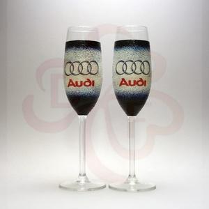 Audi pezsgőspohár ; Audi rajongóknak, Otthon & Lakás, Konyhafelszerelés, Pohár, Decoupage, transzfer és szalvétatechnika, Audi emblémával díszített - 2db pezsgőspohár audi autó rajongóknak\n\nIgazi egyedi Audi autós ajándék,..., Meska