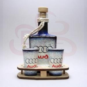 Audi whiskys készlet ; Audi rajongóknak, Otthon & Lakás, Konyhafelszerelés, Pohár, Decoupage, transzfer és szalvétatechnika, Audi whiskys készlet ( 0,2l  + 2 x 45 ml + fatartó ) ; Audi rajongóknak\n\nA saját autód fotójával is ..., Meska