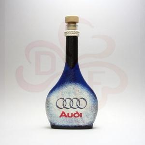 Audi italos üveg ; Audi rajongóknak, Otthon & Lakás, Dekoráció, Díszüveg, Decoupage, transzfer és szalvétatechnika, Audi italos üveg ( 0,2l ) audi autó rajongóknak\n\nA saját autód fotójával is elkészítjük. \nIgazi egye..., Meska