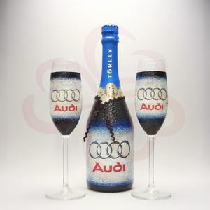 Audi pezsgős pohárszett ; Audi rajongóknak, Otthon & Lakás, Konyhafelszerelés, Pohár, Decoupage, transzfer és szalvétatechnika, Audi emblémával díszített - 2db pezsgőspohár + minőségi pezsgő\nAudi rajongóknak\nIgazi egyedi Audi au..., Meska