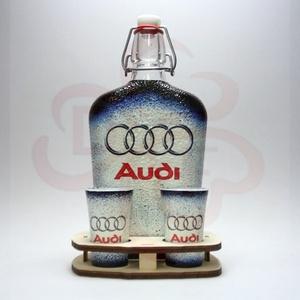 Audi ital készlet ; Audi rajongóknak, Otthon & Lakás, Konyhafelszerelés, Pohár, Decoupage, transzfer és szalvétatechnika, Audi ital készlet ( 0,5l  + 2 x 45 ml + fatartó ) ; Audi rajongóknak\n\nA saját autód fotójával is elk..., Meska
