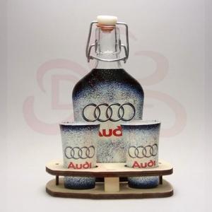 Audi ital készlet ; Audi rajongó férfiaknak, Otthon & Lakás, Konyhafelszerelés, Pohár, Decoupage, transzfer és szalvétatechnika, Audi ital készlet ( 0,2l  + 2 x 45 ml + fatartó ) ; Audi rajongó férfiaknak\n\nA saját autód fotójával..., Meska