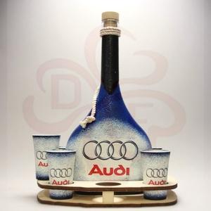 Audi ital készlet ; Audi rajongóknak, Otthon & Lakás, Konyhafelszerelés, Pohár, Decoupage, transzfer és szalvétatechnika, Audi ital készlet ( 0,5l  + 6 x 45 ml + fatartó ) ; Audi rajongóknak\n\nA saját autód fotójával is elk..., Meska