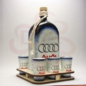 Audi pálinkás készlet ; Audi rajongóknak, Otthon & Lakás, Dekoráció, Díszüveg, Decoupage, transzfer és szalvétatechnika, Audi pálinkás készlet ( 1l  + 6 x 45 ml + fatartó ) ; Audi rajongóknak\n\nA saját autód fotójával is e..., Meska