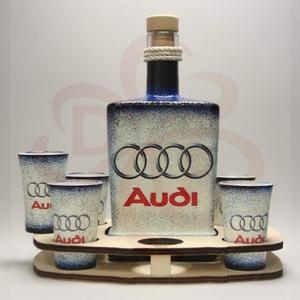 Audi whiskys készlet audi autó rajongóknak, Otthon & Lakás, Konyhafelszerelés, Pohár, Decoupage, transzfer és szalvétatechnika, Audi whiskys készlet ( 0,5l  + 6 x 45 ml + fatartó ) audi autó rajongóknak\n\nA saját Audi autód fotój..., Meska