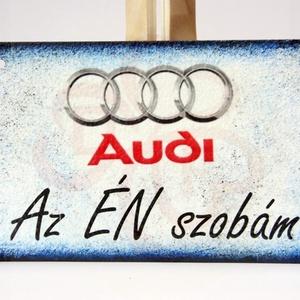 Audi ajtódísz audi rajongó fiúknak, Otthon & Lakás, Dekoráció, Ajtódísz & Kopogtató, Decoupage, transzfer és szalvétatechnika, Audi ajtódísz AZ ÉN SZOBÁM felirattal audi rajongó fiúknak\nIgazi egyedi Audi autós ajándék szülinapr..., Meska