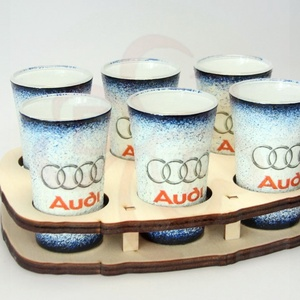 Audi pohár készlet ; Audi rajongóknak, Otthon & Lakás, Dekoráció, Díszüveg, Decoupage, transzfer és szalvétatechnika, Audi pohár készlet ( 6 x 45 ml + fatartó ) \n\nA saját autód fotójával is elkészítjük. \nIgazi egyedi A..., Meska
