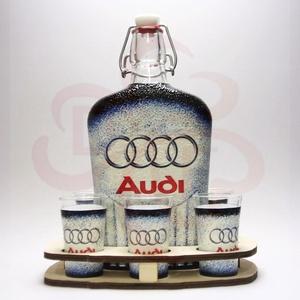 Audi italkészlet  ; Audi rajongóknak, Otthon & Lakás, Konyhafelszerelés, Pohár, Decoupage, transzfer és szalvétatechnika, Audi italkészlet ( 0,5l  + 6 x 45 ml + fatartó ) ; Audi rajongóknak\nA pohár felső része nincs dekorá..., Meska