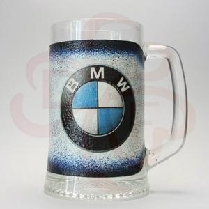 BMW sörös korsó ; BMW rajongóknak, Otthon & Lakás, Konyhafelszerelés, Pohár, Decoupage, transzfer és szalvétatechnika, BMW sörös korsó ( 0,5l  )\n\nA saját autód fotójával is elkészítjük. \nIgazán egyedi BMW ajándék, férjn..., Meska