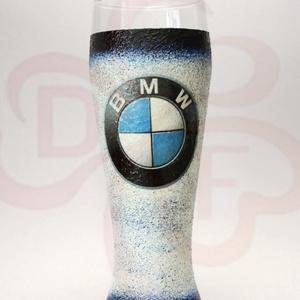 BMW sörös pohár ; BMW rajongóknak, Otthon & Lakás, Konyhafelszerelés, Pohár, Decoupage, transzfer és szalvétatechnika, Meska