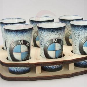 BMW pohárszett ; BMW rajongóknak, Pohár, Konyhafelszerelés, Otthon & Lakás, Decoupage, transzfer és szalvétatechnika, BMW pohárszett ( 6 x 45ml+ fatartó ) ;\n\nIgazán egyedi BMW pohárszett férfiaknak születésnapra, névna..., Meska