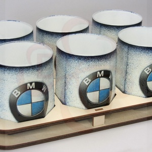 BMW whiskys pohár készlet ; Saját BMW autód fotójával is! , Otthon & Lakás, Konyhafelszerelés, Pohár, Decoupage, transzfer és szalvétatechnika, BMW whiskys pohár készlet ( 6 x 0,2l pohár + fatartó ) \n\nIgazán egyedi BMW ajándék, férfiaknak szüle..., Meska