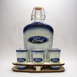 FORD pálinkás készlet ; A saját Ford autód fényképével is!, Otthon & Lakás, Dekoráció, Díszüveg, Decoupage, transzfer és szalvétatechnika, FORD- nagy pálinkás szett ( 0,5 l + 6 x 45 ml + fatartó )  ;\n\nA saját Ford autód fotójával is elkész..., Meska