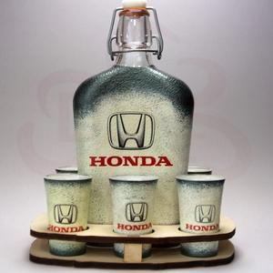 HONDA pálinkás szett  ;Saját Honda autód fotójával is elkészítjük !, Otthon & Lakás, Dekoráció, Dísztárgy, Decoupage, transzfer és szalvétatechnika, Meska