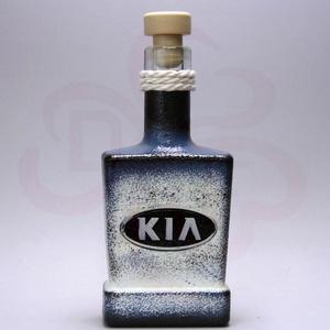 KIA emblémás italos üveg ; A KIA márka rajongóinak, Otthon & Lakás, Konyhafelszerelés, Üveg & Kancsó, Decoupage, transzfer és szalvétatechnika, Meska