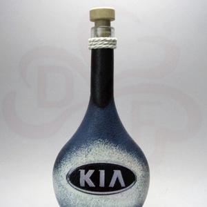 KIA emblémás italos flaska; A KIA márka rajongóinak, Otthon & Lakás, Konyhafelszerelés, Üveg & Kancsó, Decoupage, transzfer és szalvétatechnika, Meska