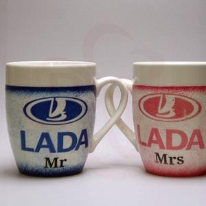 LADA ( ZSIGULI ) kávéscsésze pohárszett ; Lada autó rajongóknak, Otthon & Lakás, Konyhafelszerelés, Bögre & Csésze, Decoupage, transzfer és szalvétatechnika, LADA ( ZSIGULI ) kávéscsésze pohárszett ; 2 db/szett\n\nIgazán egyedi retro Lada emblémás ajándék, ház..., Meska