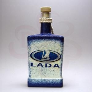 LADA ZSIGULI emblémás italos üveg ; A Lada márka rajongóinak, Otthon & Lakás, Konyhafelszerelés, Pohár, Decoupage, transzfer és szalvétatechnika, Meska