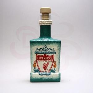 LIVERPOOL pálinkás flaska ; Liverpool szurkoló fiúknak, férfiaknak, nőknek, Otthon & Lakás, Dekoráció, Díszüveg, Decoupage, transzfer és szalvétatechnika, Meska