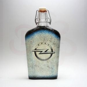 OPEL csatos üveg; opel autó rajongó férfiaknak, Otthon & Lakás, Dekoráció, Díszüveg, Decoupage, transzfer és szalvétatechnika, OPEL csatos üveg ( 0,5l ) \n\nIgazán egyedi Opel ajándék, férjnek, barátnak születésnapra, névnapra, k..., Meska