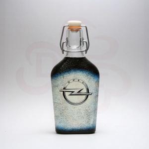 OPEL csatos üveg; Opel autó rajongó férfianak, Otthon & Lakás, Dekoráció, Díszüveg, Decoupage, transzfer és szalvétatechnika, OPEL csatos üveg ( 0,2l ) \n\nIgazán egyedi Opel ajándék, férjnek, barátnak születésnapra, névnapra, k..., Meska