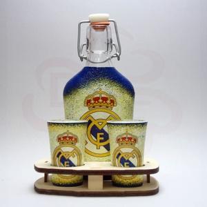 Real Madrid pálinkás kínáló ; Real futball szurkolóknak, Otthon & Lakás, Konyhafelszerelés, Pohár, Decoupage, transzfer és szalvétatechnika, Meska