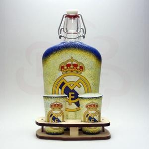 Real Madrid pálinkás kínáló ; Real foci szurkolóknak, Otthon & Lakás, Konyhafelszerelés, Pohár, Decoupage, transzfer és szalvétatechnika, Meska