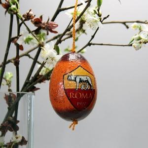 AS Roma húsvéti tojás ; Ajándék AS Roma rajongók részére, Otthon & Lakás, Dekoráció, Dísztárgy, Decoupage, transzfer és szalvétatechnika, Meska