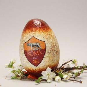 AS Roma húsvéti tojás ; Ajándék tojás AS Roma rajongók részére világos, Otthon & Lakás, Dekoráció, Dísztárgy, Decoupage, transzfer és szalvétatechnika, Meska