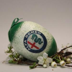 ALFA ROMEO húsvéti tojás ; Ajándék ALFA ROMEO rajongók részére világos, Otthon & Lakás, Dekoráció, Dísztárgy, Decoupage, transzfer és szalvétatechnika, Meska