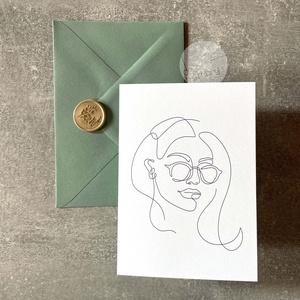 Trendi képeslap borítékkal és viaszpecséttel • K010, Művészet, Grafika & Illusztráció, Mindenmás, Fotó, grafika, rajz, illusztráció, Képeslap menta borítékkal és arany viaszpecséttel - szinte bármilyen alkalomra írhatsz bele szerette..., Meska