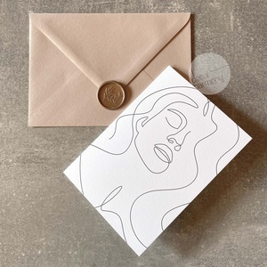 Trendi képeslap borítékkal és viaszpecséttel • K013 - Meska.hu