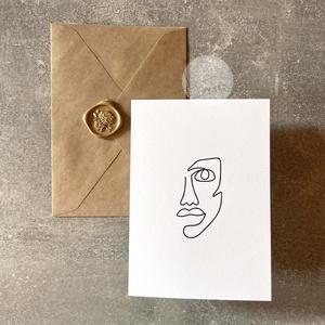 Trendi képeslap borítékkal és viaszpecséttel  K012, Otthon & Lakás, Papír írószer, Képeslap & Levélpapír, Fotó, grafika, rajz, illusztráció, Mindenmás, Meska