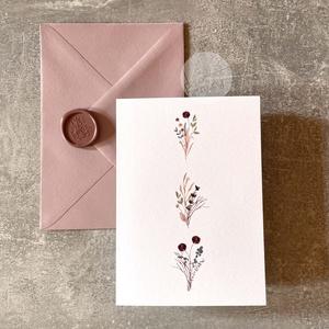 Képeslap borítékkal és viaszpecséttel • K004, Esküvő, Emlék & Ajándék, Nászajándék, Újrahasznosított alapanyagból készült termékek, Papírművészet, Képeslap púderrózsaszín borítékkal és mályva viaszpecséttel - szinte bármilyen alkalomra írhatsz bel..., Meska