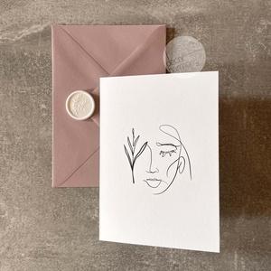 Képeslap borítékkal és viaszpecséttel • K009, Esküvő, Emlék & Ajándék, Nászajándék, Újrahasznosított alapanyagból készült termékek, Papírművészet, Képeslap púderrózsaszín borítékkal és fehér viaszpecséttel - szinte bármilyen alkalomra írhatsz bele..., Meska