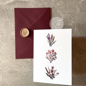 Képeslap borítékkal és viaszpecséttel • K015, Esküvő, Emlék & Ajándék, Nászajándék, Újrahasznosított alapanyagból készült termékek, Papírművészet, Képeslap burgundi borítékkal és rose gold viaszpecséttel - szinte bármilyen alkalomra írhatsz bele s..., Meska