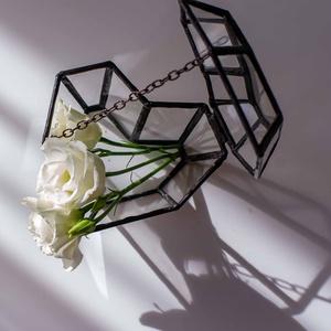 Gyűrűtartó Heart, Esküvő, Esküvői szett, Üvegművészet, Tiffany technikával készült üveg gyűrűtartó. \nAz üvegdoboz mérete: 10,7x9,6x6,7 cm \n\nMegrendelésre i..., Meska