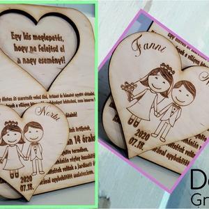 Páros fa meghívó, Esküvő, Meghívó, ültetőkártya, köszönőajándék, Gravírozás, pirográfia, Ez az esküvői pár mintájú fa meghívó azért is jó választás, mert a szív kivehető és pl. hűtőmágneské..., Meska