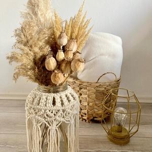 Makramé váza szárazvirágokkal , Otthon & Lakás, Dekoráció, Váza, Csomózás, 30 cm magas makramé váza, amely különböző csomózási technikának köszönhetően eltérő mintákkal rendel..., Meska