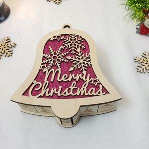 Harang alakú karácsonyi doboz, ajándékdoboz - lila csillámos, Karácsonyfadísz, Karácsony & Mikulás, Otthon & Lakás, Famegmunkálás, Gravírozás, pirográfia, Kápráztasd el szerettedet, egy igazán egyedi  karácsonyi dobozkával! \nFából készül, egyedi gravírozo..., Meska