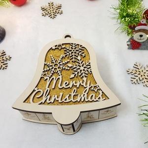 Harang alakú karácsonyi doboz, ajándékdoboz - arany csillámos, Karácsonyi csomagolás, Karácsony & Mikulás, Otthon & Lakás, Famegmunkálás, Gravírozás, pirográfia, Kápráztasd el szerettedet, egy igazán egyedi  karácsonyi dobozkával! \nFából készül, egyedi gravírozo..., Meska
