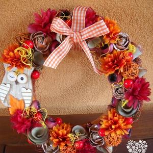 Baglyos ajtódísz, Otthon & lakás, Dekoráció, Lakberendezés, Ajtódísz, kopogtató, Virágkötés, A 25*25 cm-es kopogtatót az ősz színvilága inspirálta, mely gyönyörű dísze lehet a lakásunknak, vagy..., Meska
