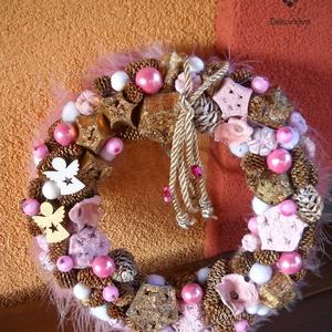 """Pink-bronz kopogtató, Karácsony, Karácsonyi dekoráció, Otthon & lakás, Dekoráció, Dísz, Ünnepi dekoráció, Virágkötés, A kb.20 cm-es \""""bizsu\"""" kopogtató akár szobánk ajtaját is díszítheti, vagy falra is akasztható., Meska"""