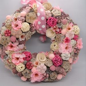Rózsaszín álom, Otthon & Lakás, Dekoráció, Ajtódísz & Kopogtató, Virágkötés, Ezt a kb 26 cm-es csupa romantika kopogtatót fehér ajtóra álmodtam meg, de igazából sötét háttérrel ..., Meska