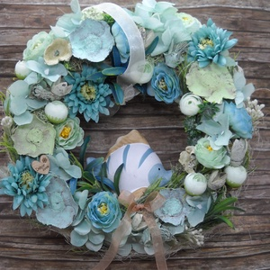 Halacskás kopogtató, Otthon & Lakás, Dekoráció, Ajtódísz & Kopogtató, Virágkötés, Ezzel a 25 cm-es türkiz-kék-zöld tengeri színek inspirálta kopogtatóval igazi nyári hangulatot adhat..., Meska