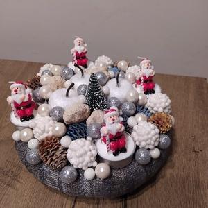 Karácsonyi asztaldísz, adventi koszorú díszgyertyával, Otthon & Lakás, Karácsony & Mikulás, Adventi koszorú, Virágkötés, Karácsonyi asztaldísz, adventi koszorú, díszgyertyával és apróbb szárított termésekkel, egyéb karács..., Meska